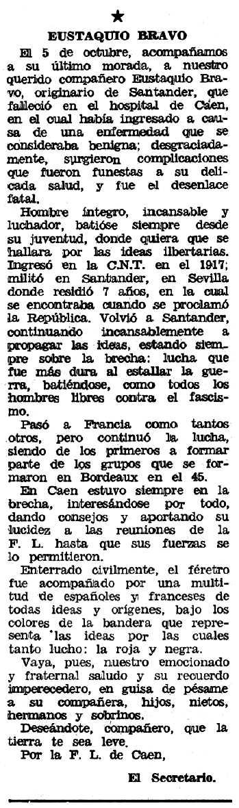 """Necrològica d'Eustaquio Bravo Linacero apareguda en el periòdic tolosà """"Espoir"""" del 29 de novembre 1970"""
