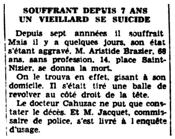 """Notícia del suïcidi d'Aristide Brazier apareguda en el diari de Troyes """"La Tribune de l'Aube"""" del 2 de desembre de 1938"""
