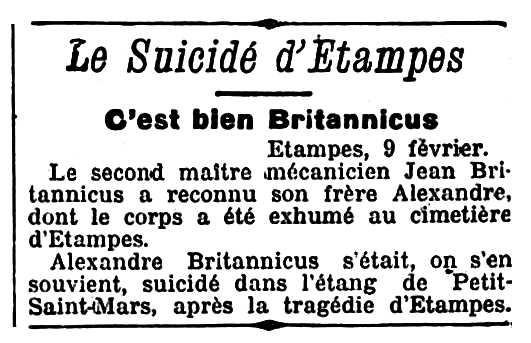 """Notícia de la confirmació de la identitat d'Alexandre Britannicus apareguda en el diari parisenc """"L'Écho de París"""" del 10 de febrer de 1912"""