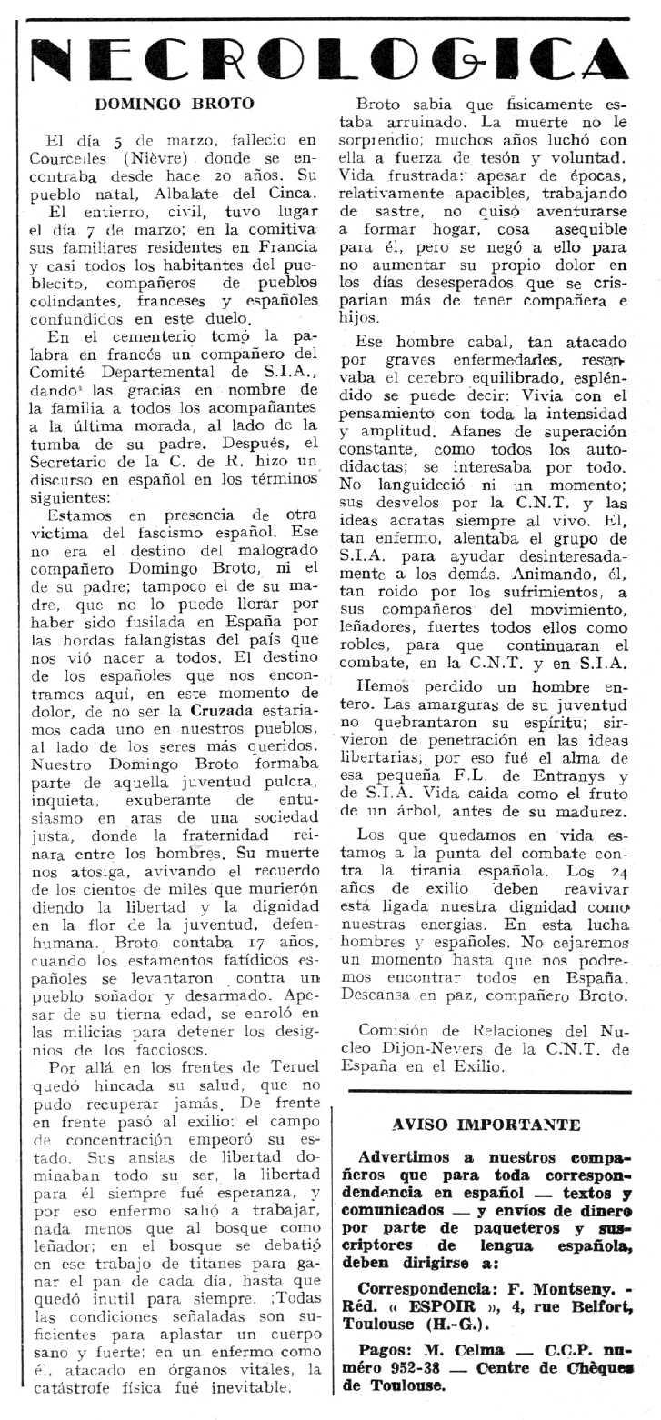 """Necrològica de Domingo Broto apareguda en el periòdic tolosà """"Espoir"""" del 12 de maig de 1963"""