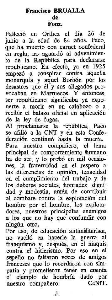 "Necrològica de Francisco Brualla Solano apareguda en el periòdic tolosà ""Cenit"" del 20 de setembre de 1988"