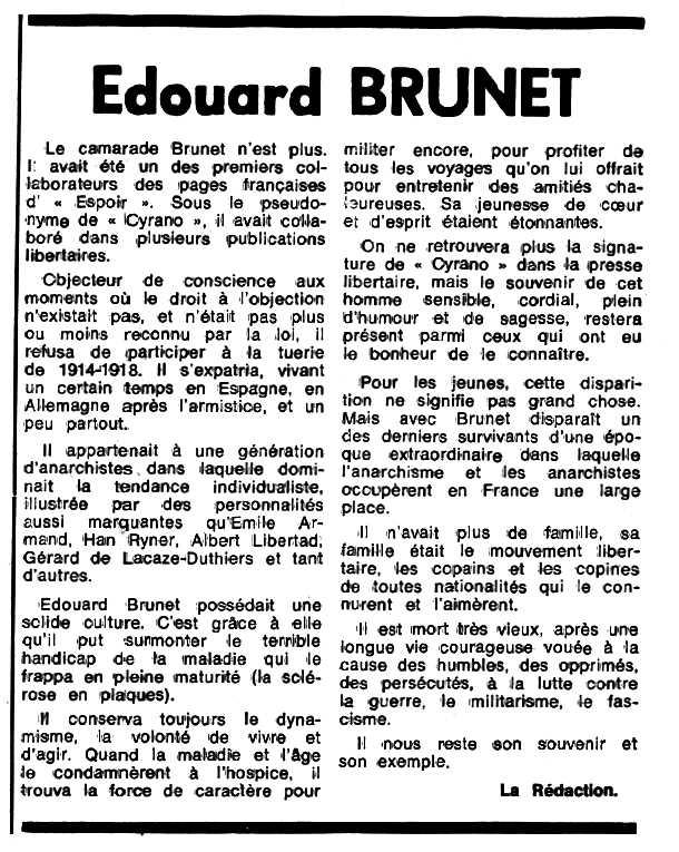 """Necrològica d'Edouard Brunet apareguda en el periòdic tolosà """"Espoir"""" de l'11 de desembre de 1978"""