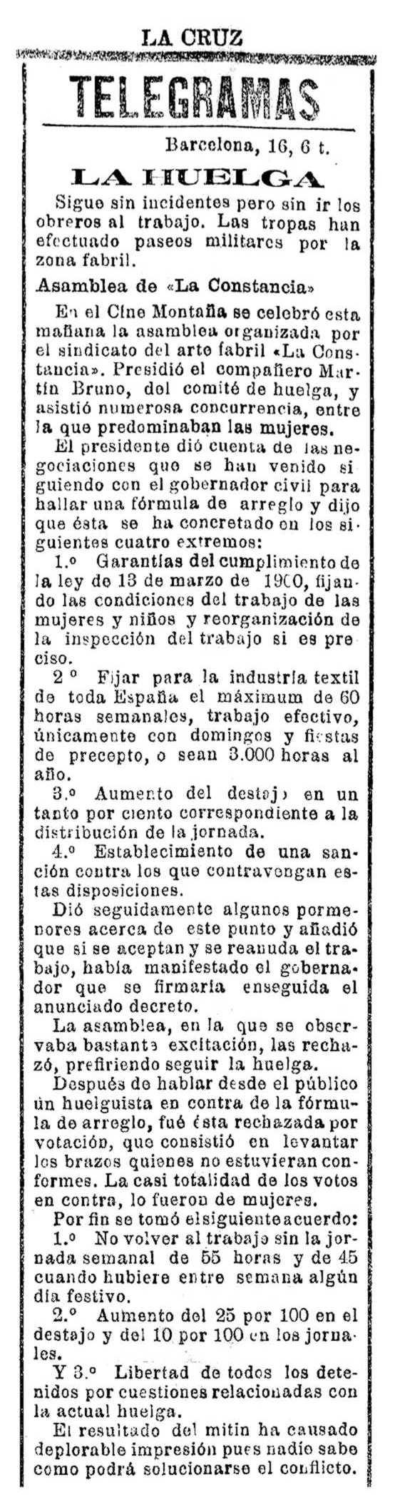 """Notícia sobre Martí Bruno Mas apareguda en el diari catòlic tarragoní """"La Cruz"""" del 17 d'agost de 1913"""