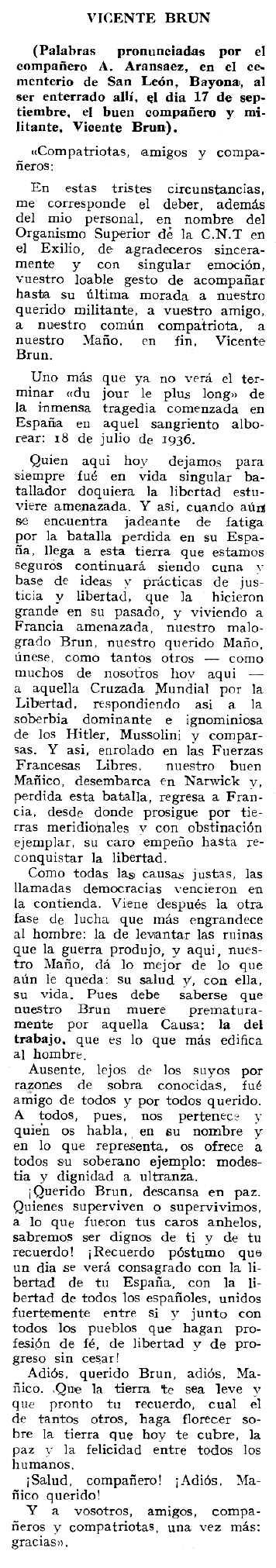 "Necrològica de Vicente Brun Zapater publicada en el periòdic tolosà ""Espoir"" del 13 d'octubre de 1963"