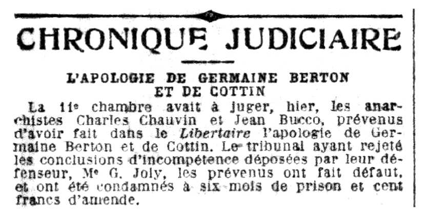 """Notícia de la comndemna de Jean Bucco apareguda en el periòdic parisenc """"Le Petit Parisien"""" del 20 d'octubre de 1923"""