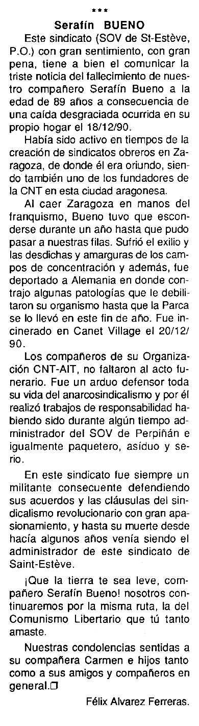 """Necrològica de Serafín Bueno Marín apareguda en el periòdic tolosà """"Cenit"""" del 29 de gener de 1991"""
