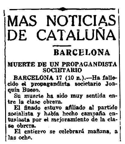 """Notícia de la mort de Joaquín Bueso García apareguda en el diari madrileny """"El Sol"""" del 18 de març de 1920"""