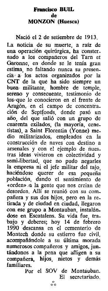 "Necrològica de Francisco Buil Visa apareguda en el periòdic tolosà ""Cenit"" del 27 de març de 1990"