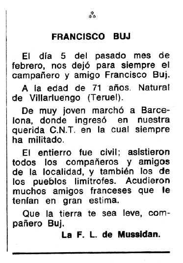 """Necrològica de Francisco Buj Iranzo apareguda en el periòdic tolosà """"Espoir"""" del 28 de maig de 1972"""