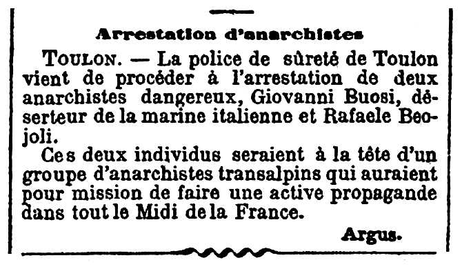 "Notícia de la detenció de Giovanni Buosi apareguda en el diari parisenc ""Le Figaro"" del 17 de gener de 1896"