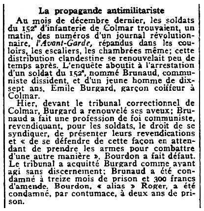"""Notícia sobre l'absolució d'Émile Burgard apareguda en el diari parisenc """"Journal des débats politiques et littéraires"""" del 9 de juny de 1930"""