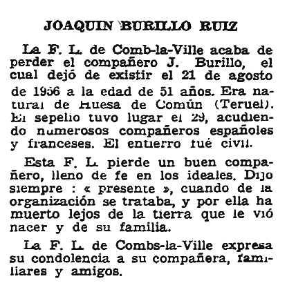 "Necrològica de Joaquín Burillo Ruiz apareguda en el periòdic parisenc ""Solidaridad Obrera"" del 20 de setembre de 1956"