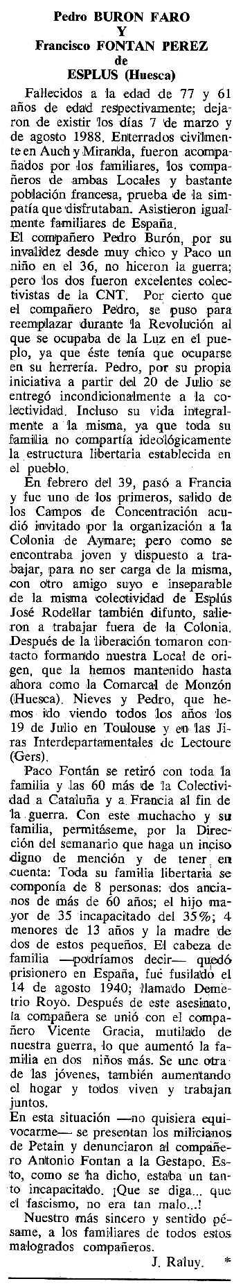 """Necrològica de Pedro Burón Faro apareguda en el periódic tolsà """"Cenit"""" de l'11 d'abril de 1989"""