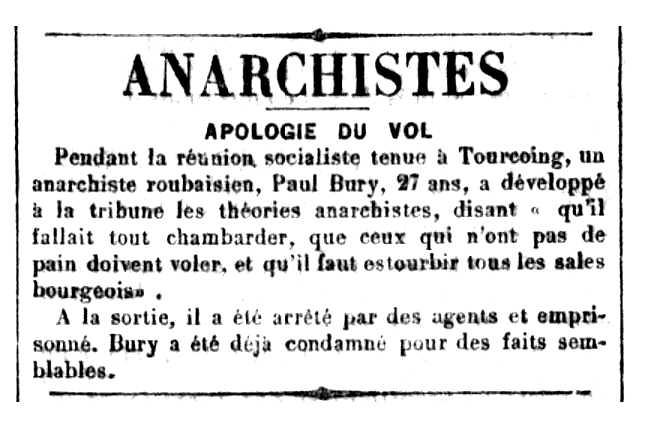 """Notícia de la detenció de Paul Bury apareguda en el diari parisenc catòlic """"La Croix"""" del 18 d'octubre de 1894"""