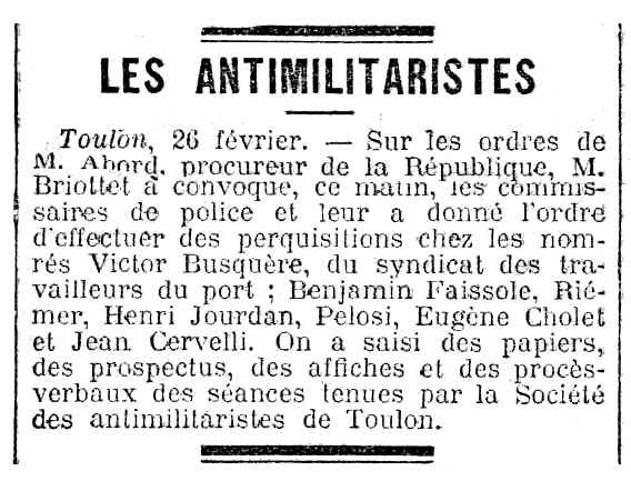 """Notícia de l'escorcoll de Victor Busquère apareguda en el diari parisenc """"La Lanterne"""" del 28 de febrer de 1906"""