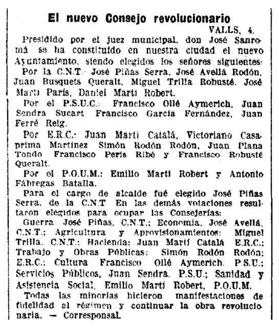 """Notícia del nomenament de Joan Busquets Queralt apareguda en """"La Vanguardia"""" del 8 de novembre de 1936"""