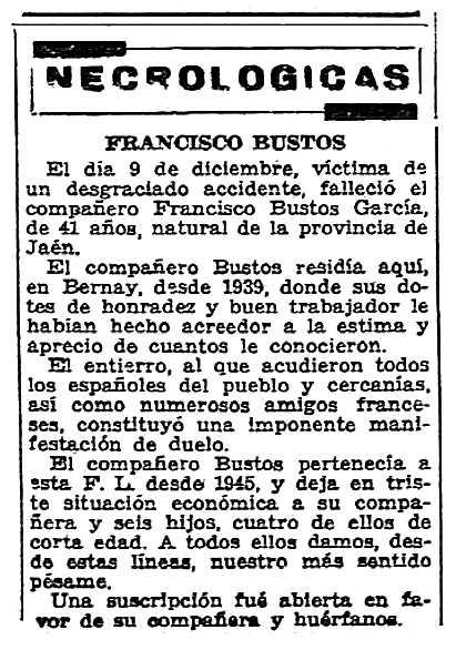 """Necrològica de Francisco Bustos García apareguda en el periòdic parisenc """"Solidaridad Obrera"""" del 12 de gener de 1956"""