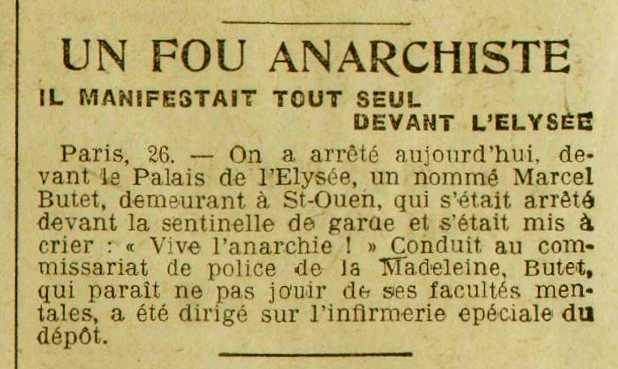 """Notícia de la detenció de Marcel Butet apareguda en el diari de Saint-Lô """"Journal de la Manche et de la Basse-Normandie"""" del 28 de maig de 1921"""