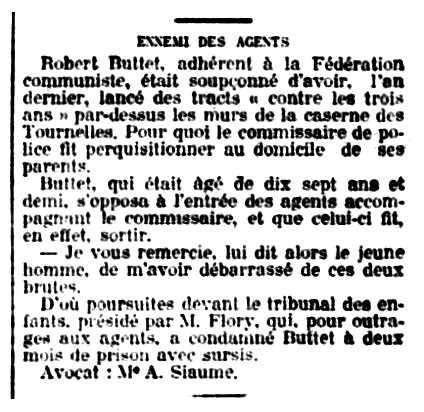 """Notícia de la condemna de Robert Butet apareguda en el diari parisenc """"La Petit République"""" del 13 de juny de 1914"""