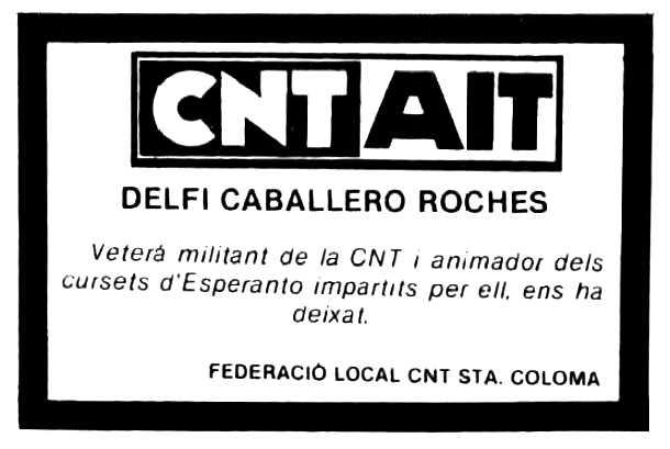 """Esquela de Delfí Caballero Roches apareguda en la revista """"Ciutat de Santa Coloma de Gramenet"""" del 20 de gener de 1984"""