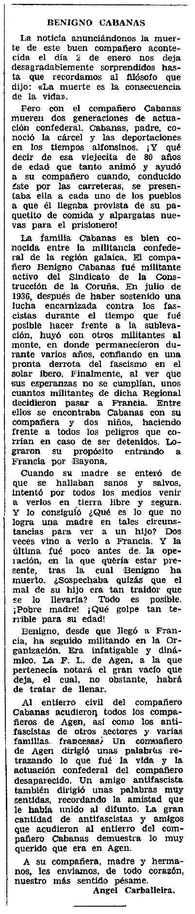 "Necrològica de Benigno Cabanas Sánchez apareguda en el periòdic tolosà ""CNT"" de l'1 de febrer de 1959"