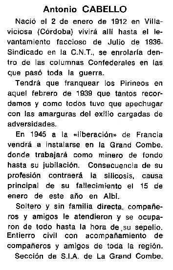 """Necrològica d'Antonio Cabello apareguda en el periòdic tolosà """"Cenit"""" del 4 de març de 1986"""