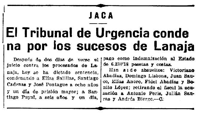 """Notícia sobre la condemna de Santiago Cadenas Pontaque apareguda en el periòdic saragossa """"La Voz de Aragón"""" de l'1 de març de 1934"""