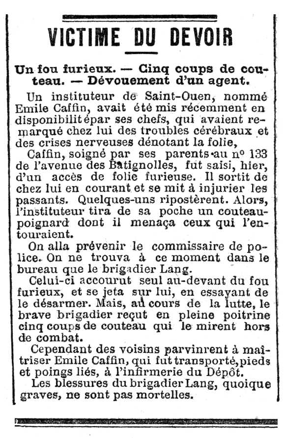 """Notícia sobre l'agressió d'Émile Caffin apareguda en el diari parisenc """"Le XIXe Siècle"""" de l'1 d'abril de 1888"""