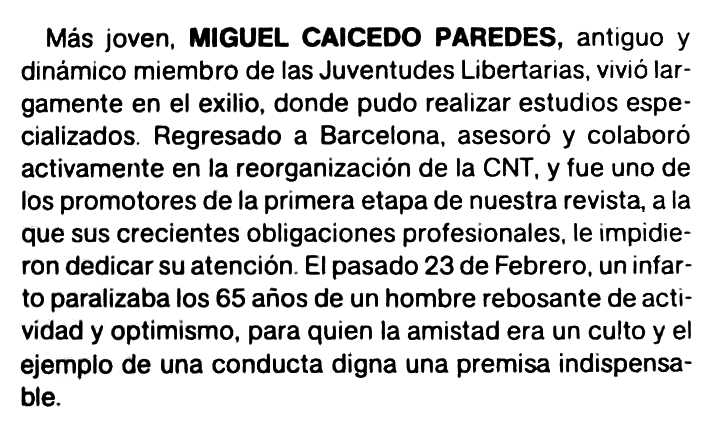 """Necrològica de Miguel Caicedo Paredes apareguda en la revista barcelonina """"Polémica"""" del març-abril de 1984"""