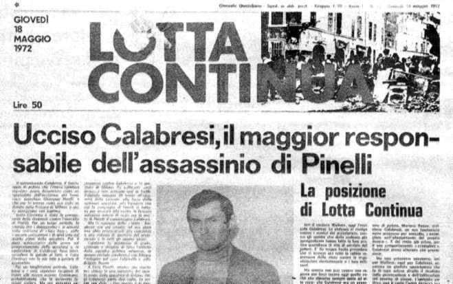 Noticia del asesinato de Calabresi