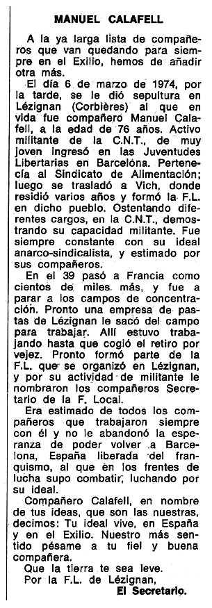 """Necrològica de Manuel Calafell Galí apareguda en el periòdic tolosà """"Espoir"""" del 16 de juny de 1974"""