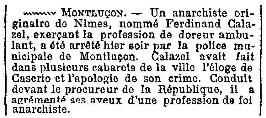 """Notícia de la detenció de Ferdinand Calazel apareguda en el diari parisenc """"Le Figaro"""" del 6 de juliol de 1894"""