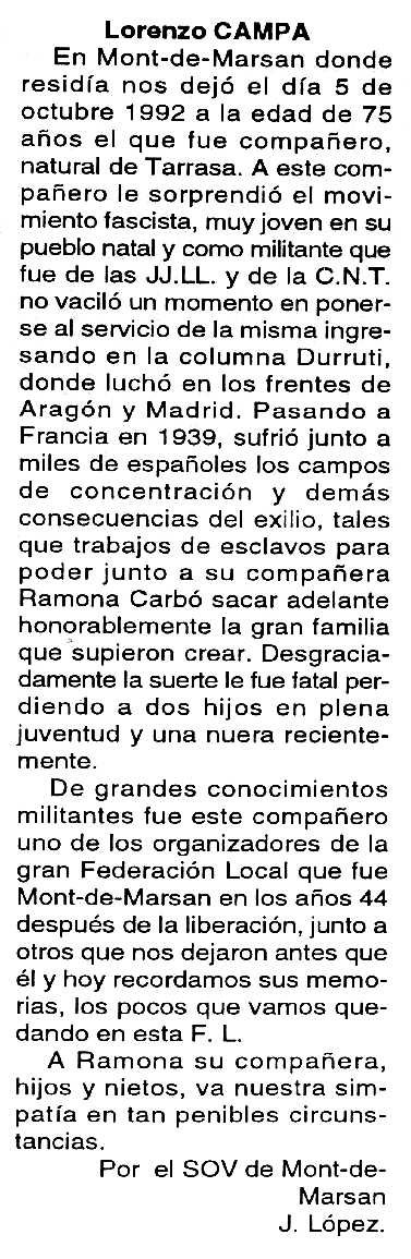 "Necrològica de Llorenç Campà Martín apareguda en el periòdic tolosà ""Cenit"" del 12 de gener de 1993"