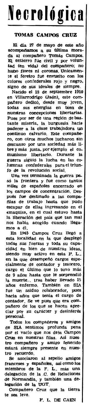"""Necrològica de Tomás Cruz Campos apareguda en el periòdic parisenc """"Le Combat Syndicaliste"""" del 31 d'agost de 1972"""