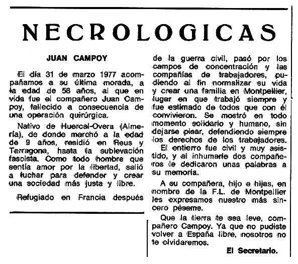 """Necrològica de Juan Campoy Fernández apareguda en el periòdic tolosà """"Espoir"""" del 12 de juny de 1977"""