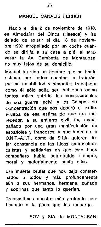 "Necrològica de Manuel Canalis Ferrer apareguda en el periòdic tolosà ""Cenit"" del 26 de gener de 1988"