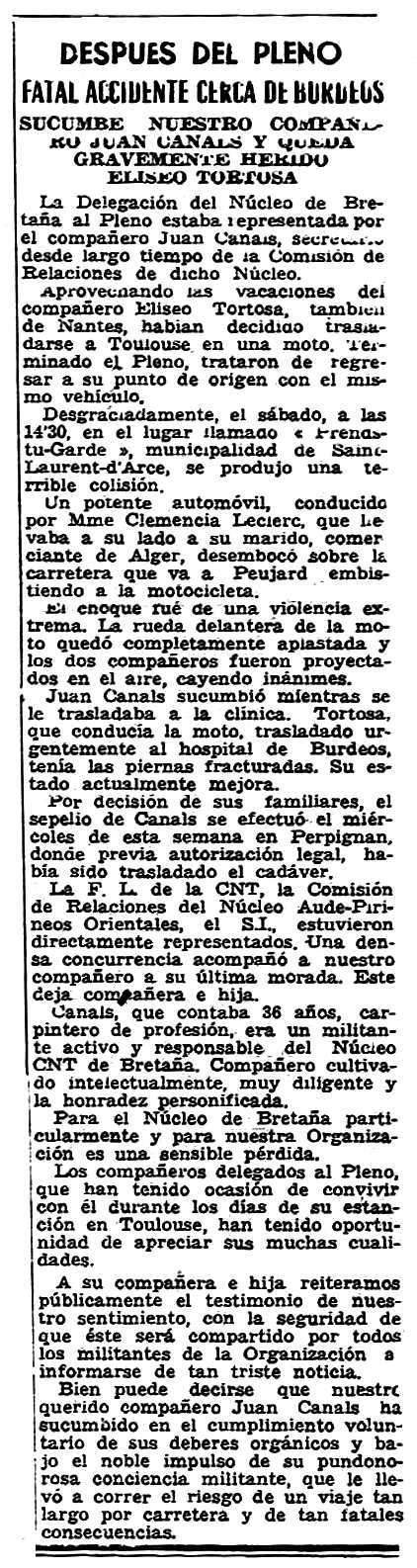 """Notícia sobre la mort de Joan Canals apareguda en el periòdic parisenc """"Solidaridad Obrera"""" del 3 de setembre de 1959"""
