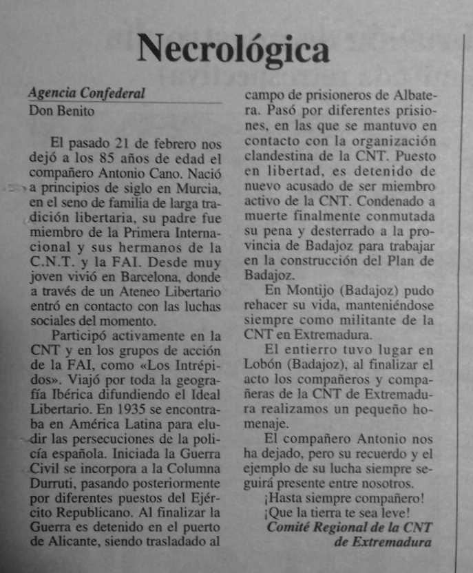 """Necrològica d'Antonio Cano Ortiz apareguda en el periòdic granadí """"CNT"""" de la primera quinzena d'abril de 1995"""