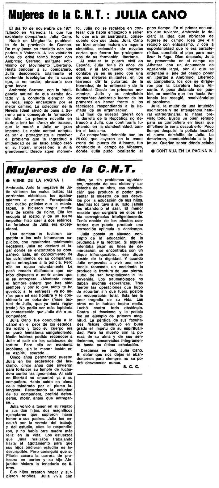 """Necrològica de Julia Cano Sáez apareguda en el periòdic tolosà """"Espoir"""" del 9 de gener de 1972"""