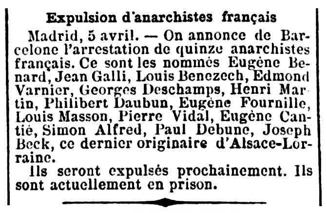 """Notícia d'una de les detencions d'Eugène Cantié apareguda en el diari parisenc """"La Cocarde"""" del 6 d'abril de 1892"""