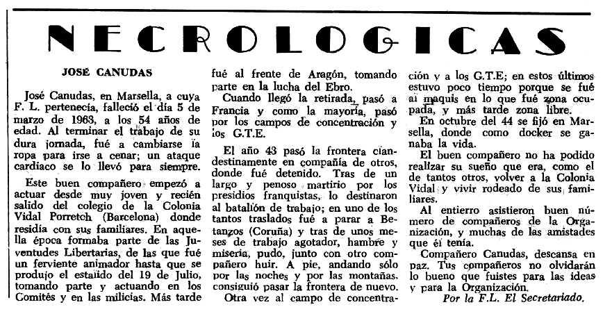 """Necrològica de Josep Canudas Sirera apareguda en el periòdic tolosà """"Espoir"""" del 28 d'abril de 1963"""