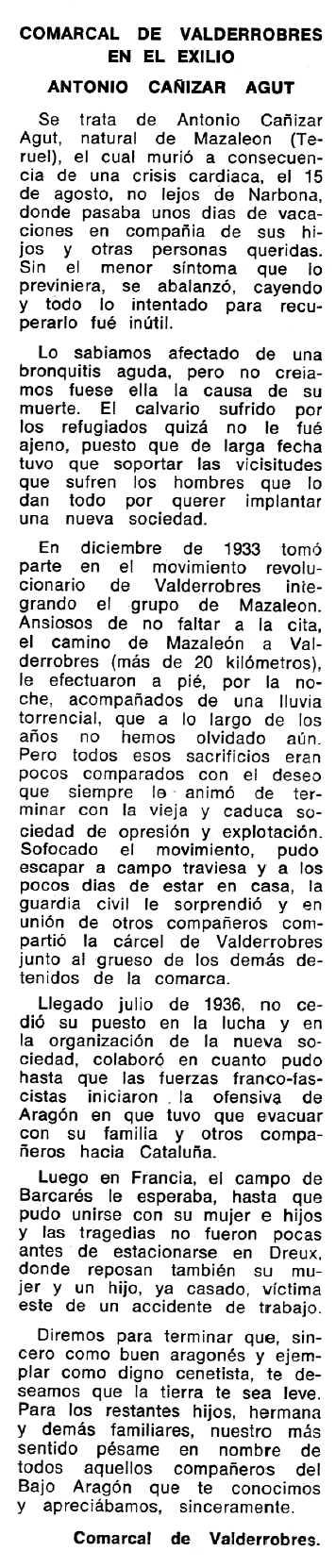 """Necrològica d'Antonio Cañizar Agut apareguda en el periòdic tolosà """"Espoir"""" del 23 de novembre de 1969"""