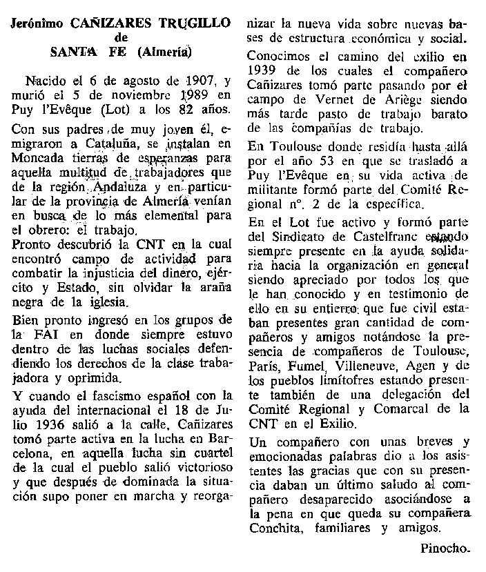"""Necrològica de José Cañizares Trujillo apareguda en el periòdic tolosà """"Cenit"""" del 19 de desembre de 1989"""