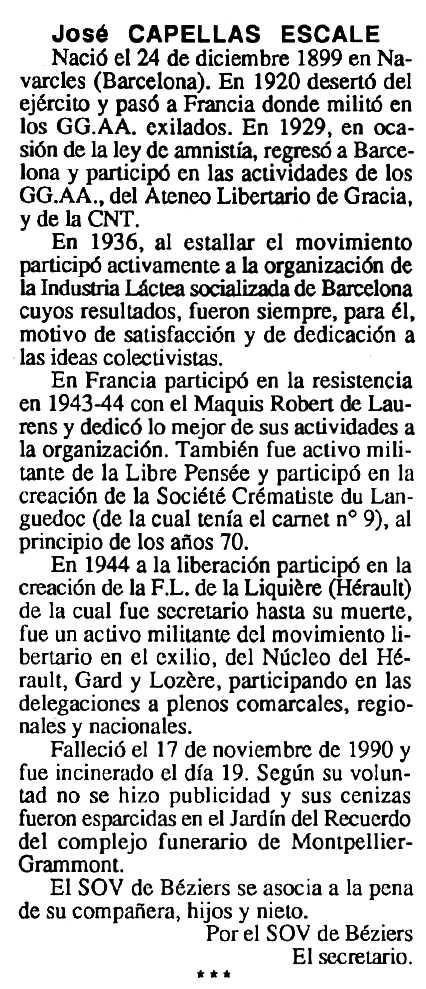 """Necrològica de Josep Capellas Escalé apareguda en el periòdic tolosà """"Cenit"""" del 9 d'abril de 1991"""