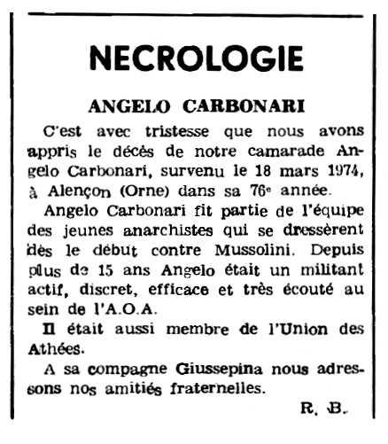 "Necrològica d'Angelo Carbonari apareguda en el periòdic parisenc ""Le Combat Syndicaliste"" de l'1 d'abril de 1974"