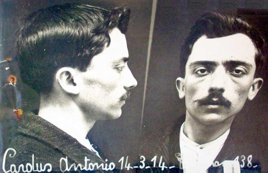 Foto policíaca d'Antoni Cardús Canals (14 de març de 1914)