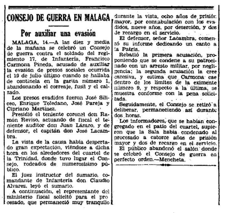 """Noticia del juicio de Francisco Carmona Pineda aparecida en el diario madrileño """"El Siglo Futuro"""" del 14 de agosto de 1934"""