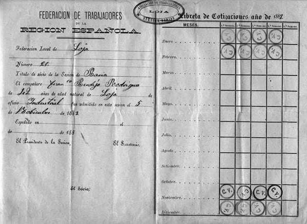 Carnet de membre de l'FTRE (Arxiu Històric Municipal de Loja)