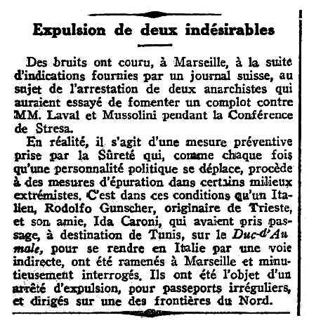 """Notícia de la detenció d'Ida Caroni i de Rodolfo Gunscher apareguda en el periòdic parisenc """"Journal des Débats Politiques et Littéraires"""" del 17 d'abril de 1935"""