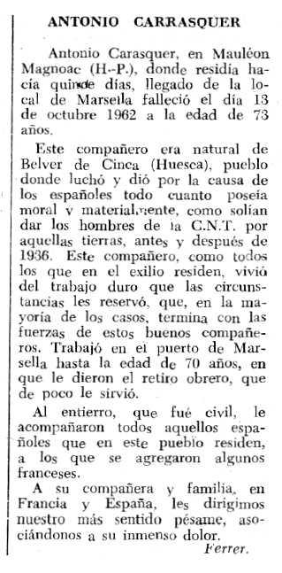 """Necrològica d'Antonio Carrasquer Cano apareguda en el periòdic tolosà """"Espoir"""" del 10 de març de 1963"""